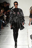 Sosheba Griffiths walks the runway wearing Custo Barcelona Fall 2016 20th Anniversary Collection during New York Fashion Week on February 14, 2016