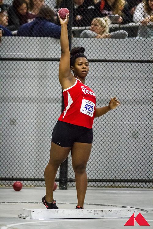 ECAC Indoor Champs, womens shot put, Amazan, St Johns