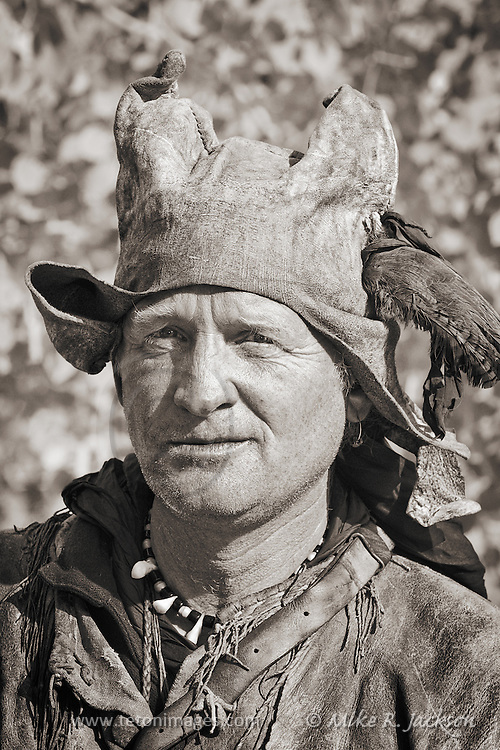 Portrait of a period correct cap worn by Mountain Men during the Fur Trade period. Photo taken at one of the yearly Mountain Man Rendezvous that take place in the Northern Rockies each year.