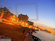 Havanna Vieja, old city, Malecon at night, Cuba, Havanna
