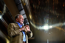 One day after the vice-Presidential debate, Democratic vice presidential candidate Sen. Tim Kaine rallies at Sheet Metal Workers Local Union 19 Hall in Philadelphia, Pennsylvania, USA, on October 5, 2016.