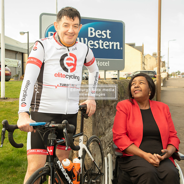 A Charity Bike Ride is linking the two Portobellos in Edinburgh and London this weekend. A former Edinburgh Portobello resident Gordon Barclay will set off tomorrow (Sunday 24th) to cycle to London. The ride will raise funds for Clarrie Mendy, who tragically lost 2 relatives in the Grenfell Tower Disaster and has now been diagnosed with Motor Neurone Disease, and for Doddie Weir's MY NAME5 DODDIE foundation. Pictured: Gordon Barclay, Clarrie Mendy<br /> <br /> <br /> © Jon Davey/ EEm