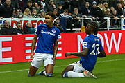 Dominic Calvert-Lewin (#9) of Everton celebrates Everton's first goal (0-1) with Moise Kean (#27) of Everton during the Premier League match between Newcastle United and Everton at St. James's Park, Newcastle, England on 28 December 2019.
