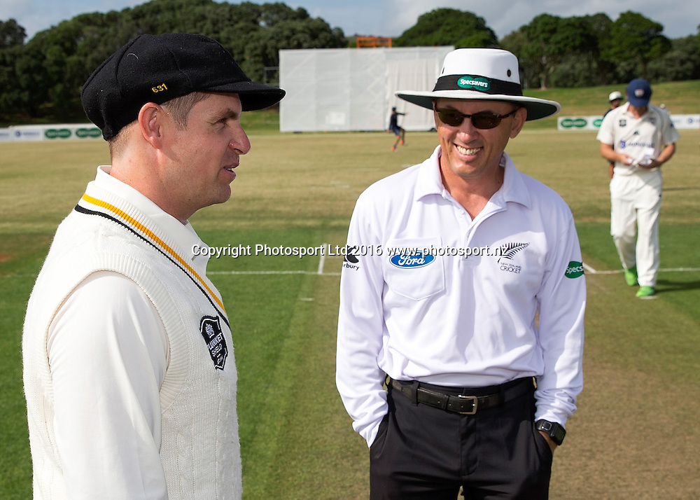 Aces Captain Rob Nicol, left,  with Umpire Barry Frost in the Mondiale Aces v Wellington Firebirds, Plunket Shield Cricket Match, Colin Maiden Park, Auckland, New Zealand, Saturday, February 13, 2016. Copyright photo: David Rowland / www.photosport.nz