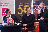 Warsaw, Poland - 2018 November 22: Special Olympics European Basketball Week 2018 while Press Conference at Marriott Sport's Champions Bar on November 22, 2018 in Warsaw, Poland.<br /> <br /> Adam Nurkiewicz declares that he has no rights to the image of people at the photographs of his authorship.<br /> <br /> Picture also available in RAW (NEF) or TIFF format on special request.<br /> <br /> Any editorial, commercial or promotional use requires written permission from the author of image.<br /> <br /> Image can be used in the press when the method of use and the signature does not hurt people on the picture.<br /> <br /> Mandatory credit:<br /> Photo by © Adam Nurkiewicz
