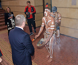 ADELAIDE, AUSTRALIA - Sunday, July 19, 2015: Liverpool receive an Aboriginal 'Welcome to Country' during a visit to the Art Gallery of South Australia ahead of a preseason friendly match against Adelaide United on day seven of the club's preseason tour. (Pic by David Rawcliffe/Propaganda)