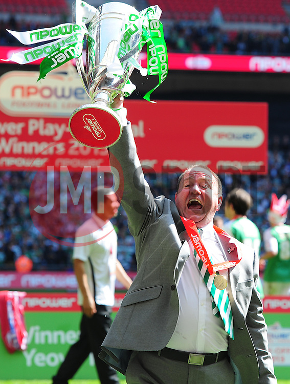 Yeovil Town Manger, Gary Johnson celebrates with the trophy after winning promotion  - Photo mandatory by-line: Joe Meredith/JMP - Tel: Mobile: 07966 386802 19/05/2013 - SPORT - FOOTBALL - LEAGUE 1 - PLAY OFF - FINAL - Wembley Stadium - London - Brentford V Yeovil Town
