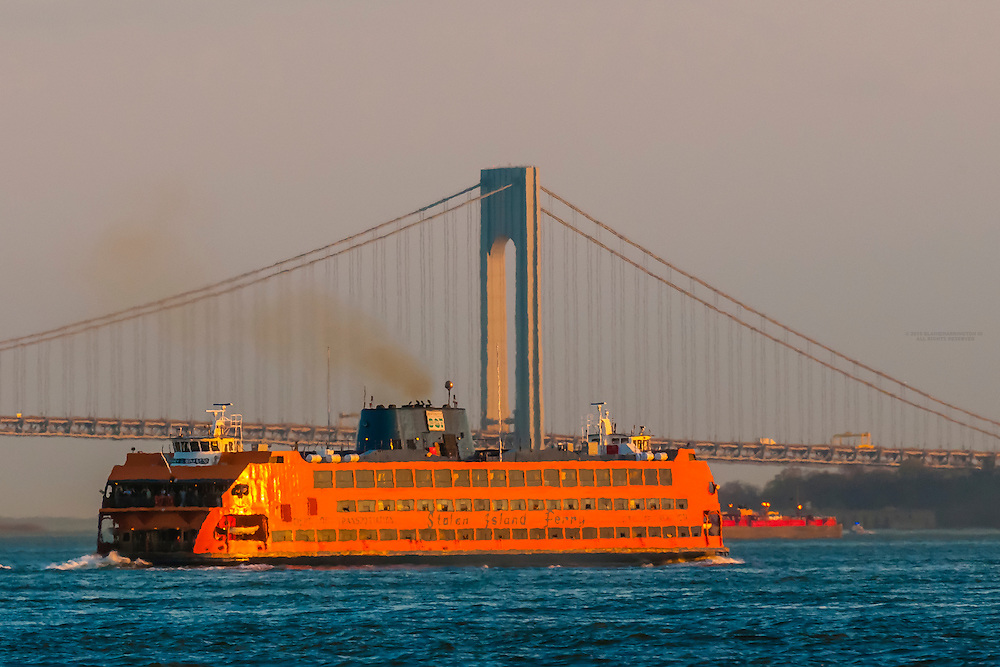 Staten Island Ferry and Verrazano-Narrows Bridge, New York, New York USA.