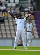 Fidel Edwards of Hampshire screams to the sky as he thinks he has a wicket  during the Specsavers County Champ Div 1 match between Hampshire County Cricket Club and Lancashire County Cricket Club at the Ageas Bowl, Southampton, United Kingdom on 6 August 2017. Photo by Graham Hunt.