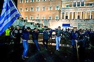 Farmers protest in front of the Greek parliament and dancing the Sirtaki during a rally in Athens February 12, 2016. <br /> Farmers from across Greece gather in Athens for a two-day protest against the government and its plans to impose new tax hikes and pension charges.