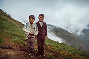 Young boys in a small village on the western slopes of the Andes in Ecuador