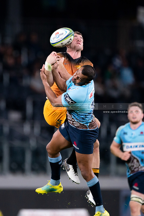 SYDNEY, AUSTRALIA - MAY 25: Waratahs player Kurtley Beale (15) and Jaguares player Emiliano Boffelli (15) go up for the ball at week 15 of Super Rugby between NSW Waratahs and Jaguares on May 25, 2019 at Western Sydney Stadium in NSW, Australia. (Photo by Speed Media/Icon Sportswire)