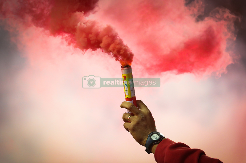 October 20, 2017 - Mouscron, BELGIUM - Illustration picture shows, fireworks and before the Jupiler Pro League match between Excel Mouscron and Standard de Liege, in Mouscron, Friday 20 October 2017, on the eleventh day of the Jupiler Pro League, the Belgian soccer championship season 2017-2018. BELGA PHOTO VIRGINIE LEFOUR (Credit Image: © Virginie Lefour/Belga via ZUMA Press)