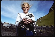 Johanna Matthiasdottir-10, holds puffin chick up to camera before releasing it to sea on Heimaey. Iceland