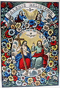 The Trinity: Father, Son and Holy Spirit. 19th century coloured woodcut
