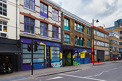 Strongroom a successful Shoreditch recording studio that has produced chart-topping hits from bands ranging from The Prodigy, Radiohead to The Spice Girls, shares a party wall with a site where a former warehouse, outlined here in red, is set to be altered and extended, the noise from which will create significant problems for the studios and their associated bar and restaurant courtyards. London, March 13 2019.