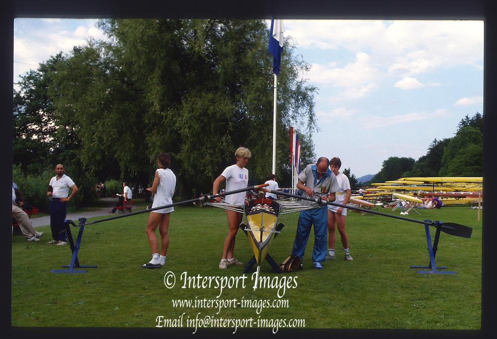 Lucerne, SWITZERLAND. General Views GV's. Boat Park Area 1988  Lucerne International Regatta, Lake Rotsee. June 1988 [Mandatory Credit - Peter Spurrier/Intersport Images] 1988 Lucerne International Regatta