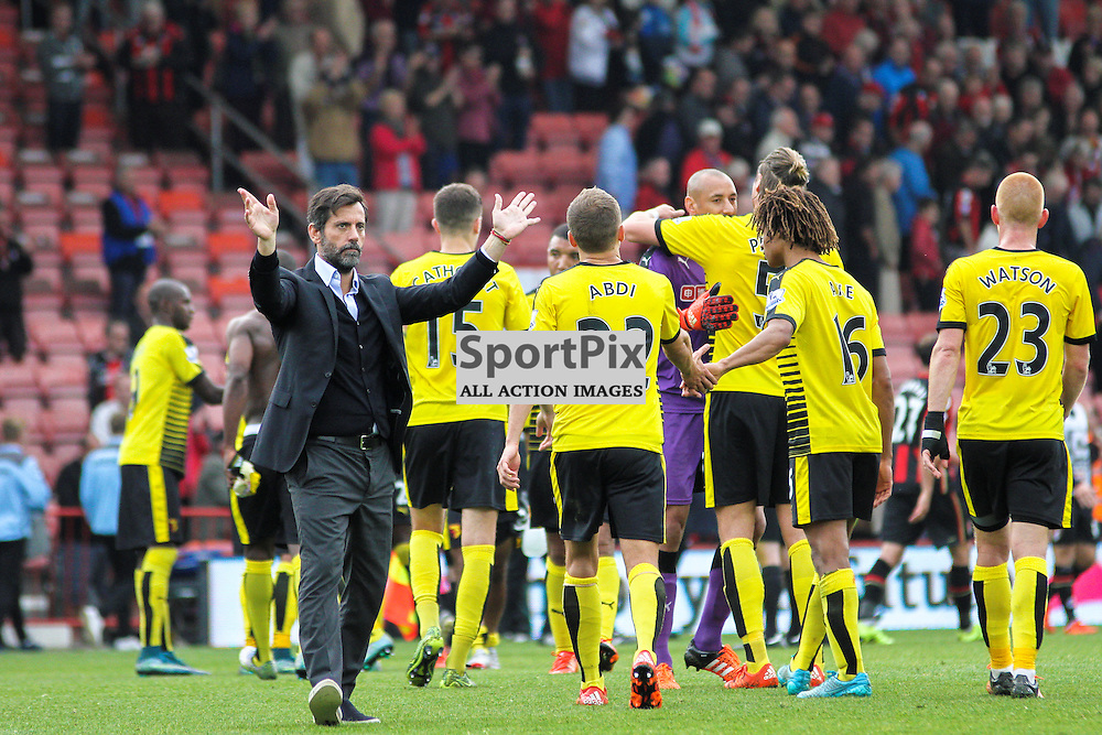 Watford Manager Quique Sanchez Flores applauds the watford fans after the game, Bournemouth vs Watford on Saturday 3rd of October 2015.
