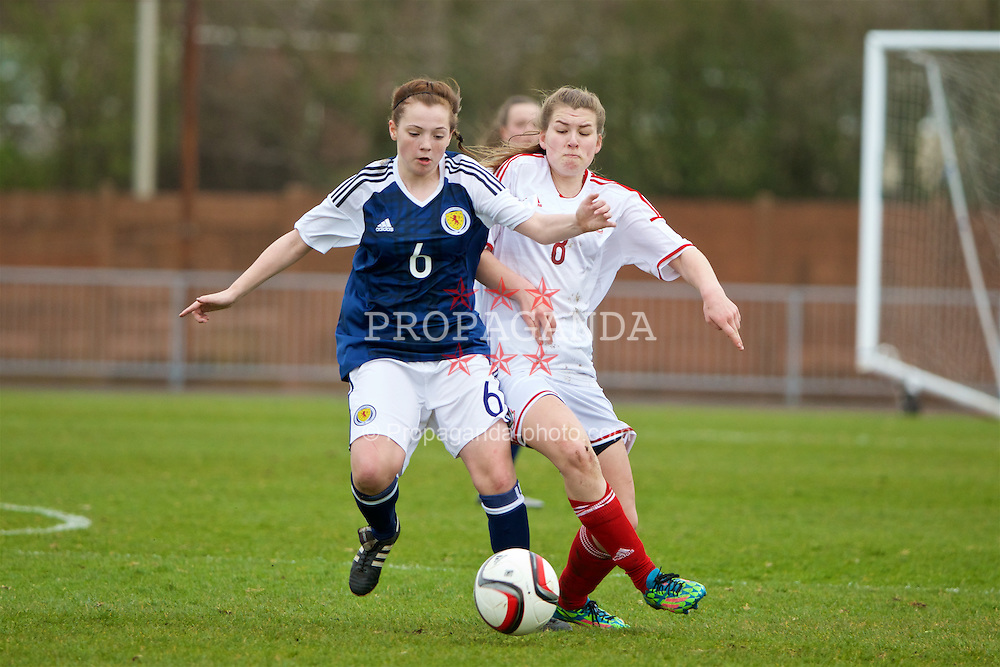 NEWPORT, WALES - Monday, April 4, 2016: Wales' Alice Griffiths in action against Scotland's Michaela McAlonie during Day 4 of the Bob Docherty International Tournament 2016 match at Newport Stadium. (Pic by David Rawcliffe/Propaganda)