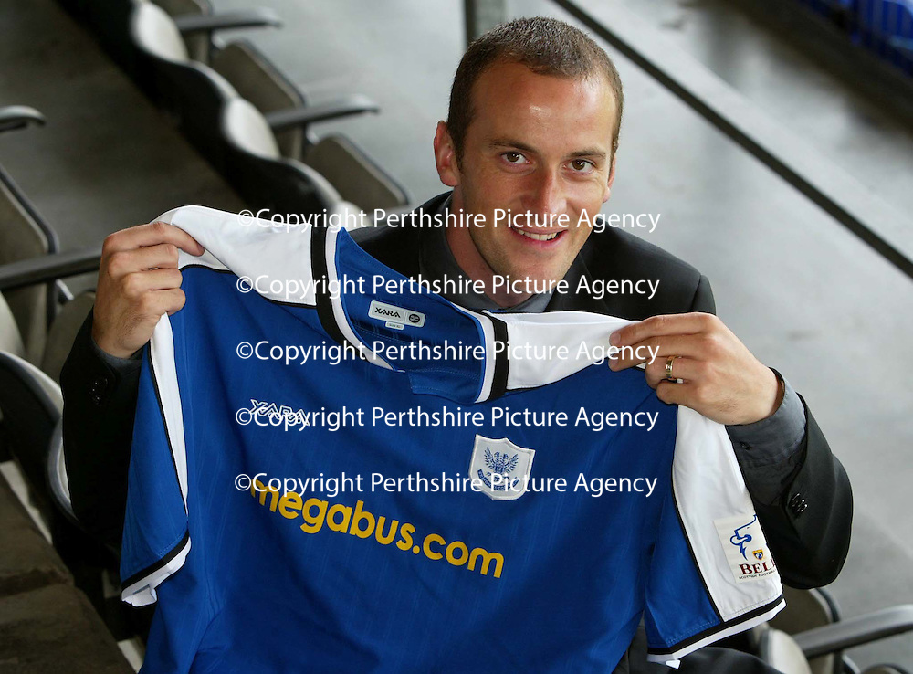 Paul Sheerin pictured at McDiarmid Park after signing a two year deal to join St Johnstone from Aberdeen.<br />see story by Gordon Bannerman Tel: 01738 553978 or 07729 865788<br />Picture by Graeme Hart.<br />Copyright Perthshire Picture Agency<br />Tel: 01738 623350  Mobile: 07990 594431
