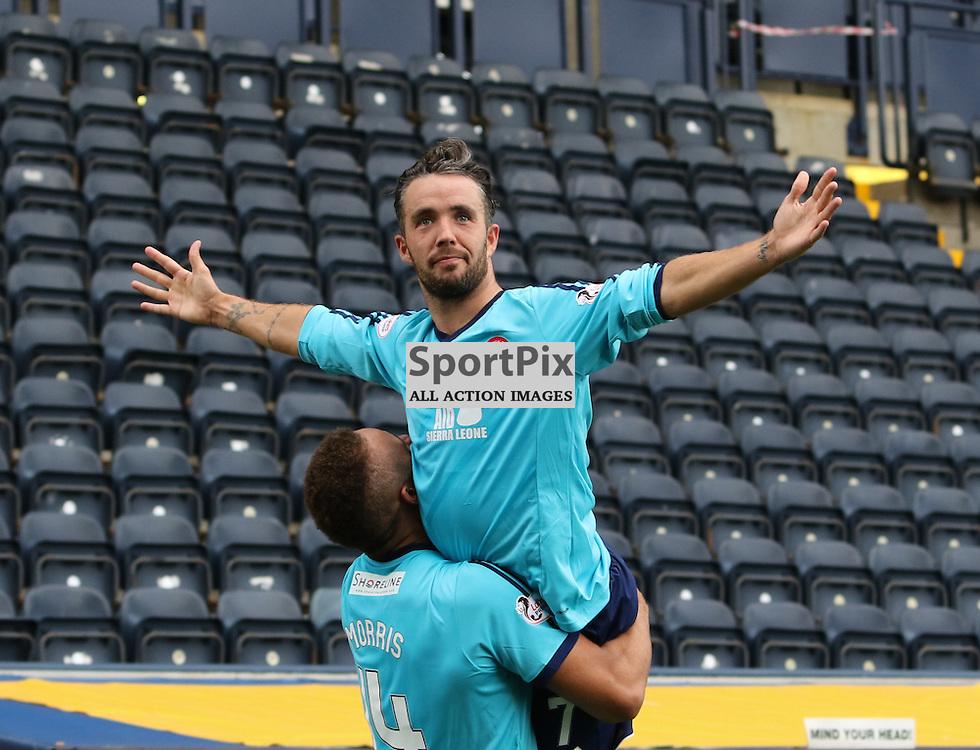 Hamilton Academical's Dougie Imrie celebrates his fine goal  with team mate Carlton Morris during the Kilmarnock FC V Hamilton Academical FC Scottish Premiership 26th September 2015  ©Edward Linton | SportPix.org.uk