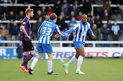 Hartlepool United's Marlon Harewood celebrates his goal with Hartlepool United's Luke James - Photo mandatory by-line: Dougie Allward/JMP - Mobile: 07966 386802 15/03/2014 - SPORT - FOOTBALL - Hartlepool - Victoria Park - Hartlepool United v Bristol Rovers - Sky Bet League Two