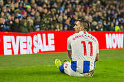 Anthony Knockhaert (Brighton) after his tackle from Tosin Adarabioyo during the FA Cup fourth round match between Brighton and Hove Albion and West Bromwich Albion at the American Express Community Stadium, Brighton and Hove, England on 26 January 2019.