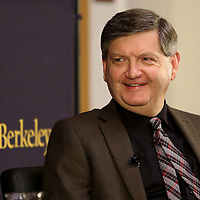 "Reporter James Risen laughs onstage with Lowell Bergman during the ""Prosecuting the Press"" event at the UC Berkeley Graduate School of Journalism in Berkeley, California, on Thursday, November 14, 2013. Risen, the New York Times national security reporter is facing jail for refusing to comply with a subpoena to reveal his sources in relation to his book titled State of War: The Secret History of the CIA and the Bush Administration. (AP Photo/Alex Menendez)"
