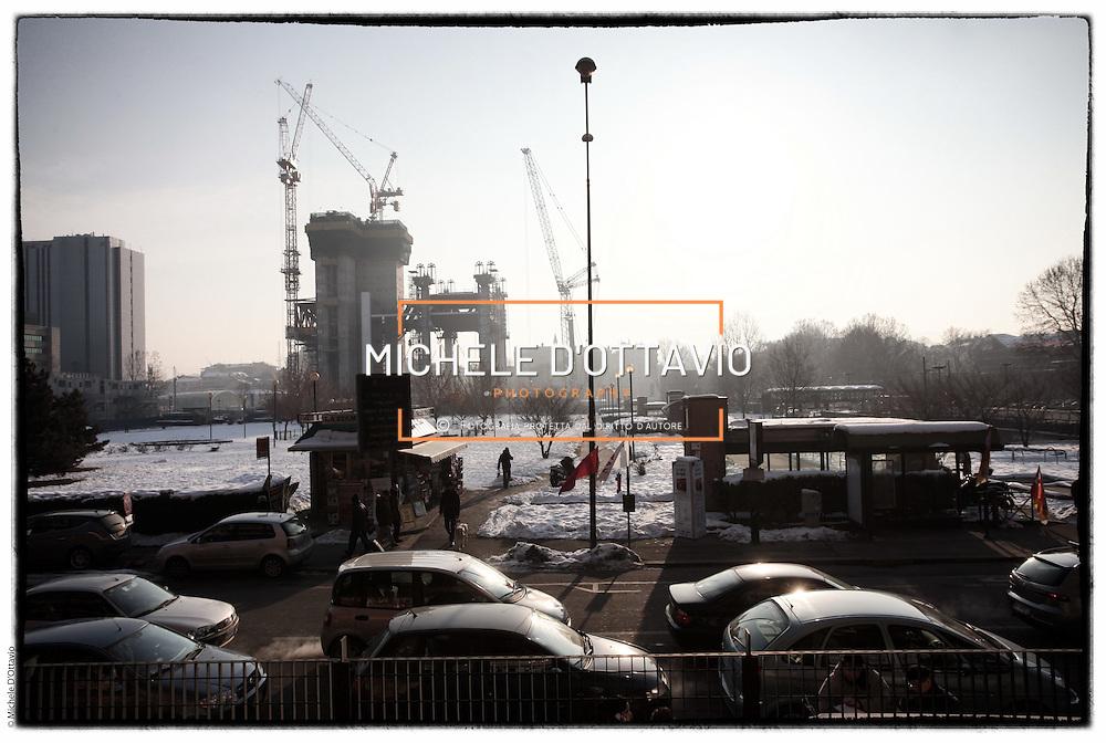 Torino, cantiere del grattacielo Torre Intesa Sanpaolo progettato da Renzo Piano.. 13 febbraio 2012