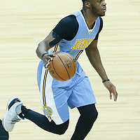20 December 2016: Denver Nuggets guard Emmanuel Mudiay (0) brings the ball up court during the LA Clippers 119-102 victory over the Denver Nuggets, at the Staples Center, Los Angeles, California, USA.