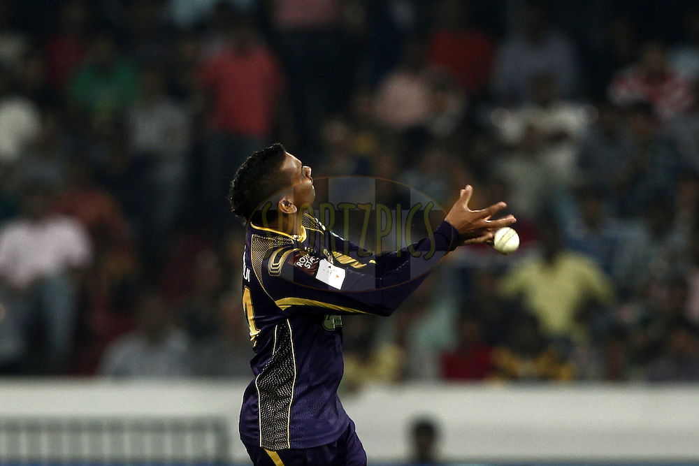 Sunil Narine of the Kolkata Knight Riders drop the catch during match 7 of the Oppo Champions League Twenty20 between the Kolkata Knight Riders and the Lahore Lions held at the Rajiv Gandhi Cricket Stadium, Hyderabad, India on the 21st September 2014<br /> <br /> Photo by:  Deepak Malik / Sportzpics/ CLT20<br /> <br /> <br /> Image use is subject to the terms and conditions as laid out by the BCCI/ CLT20.  The terms and conditions can be downloaded here:<br /> <br /> http://sportzpics.photoshelter.com/gallery/CLT20-Image-Terms-and-Conditions-2014/G0000IfNJn535VPU/C0000QhhKadWcjYs