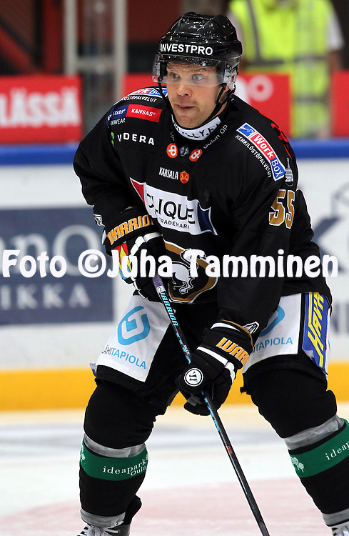 17.9.2014, Ritari Areena, Hämeenlinna.<br /> Jääkiekon SM-liiga 2014-15. Hämeenlinnan Pallokerho - Oulun Kärpät.<br /> Ari Vallin - Kärpät