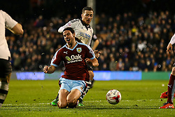 George Boyd of Burnley is tackled by Ross McCormack of Fulham - Mandatory by-line: Jason Brown/JMP - Mobile 07966 386802 08/03/2016 - SPORT - FOOTBALL - Fulham, Craven Cottage - Fulham v Burnley - Sky Bet Championship