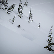 Owen Dudley get perfect blower powder at high speed in the Mount Baker backcountry.