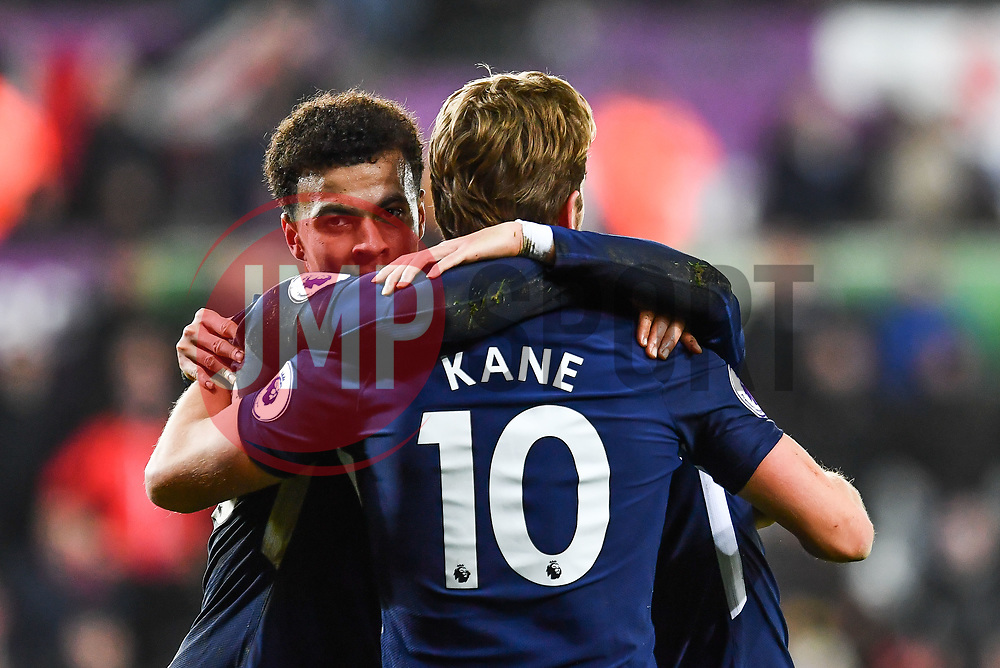 Dele Alli of Tottenham Hotspur celebrates scoring his side's second goal with team mates - Mandatory by-line: Craig Thomas/JMP - 02/01/2018 - FOOTBALL - Liberty Stadium - Swansea, England - Swansea City v Tottenham Hotspur - Premier League