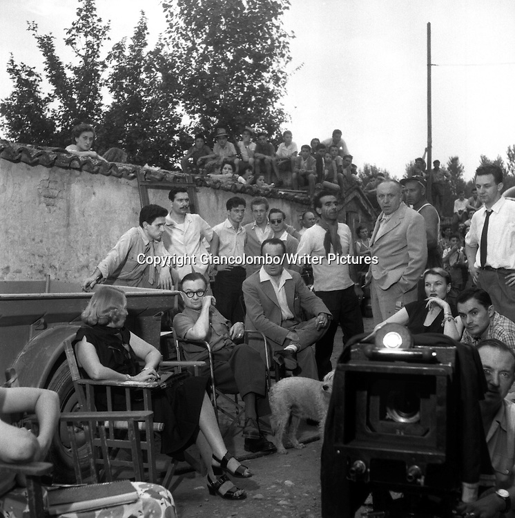 The set of the movie The Little World of Don Camillo, made from Giovannino Guareschi's novel. Brescello, (Parma) <br /> 1951<br /> <br /> Photograph by Giancolombo/Writer Pictures<br /> <br /> WORLD RIGHTS, NO AGENCY, NO ITALY