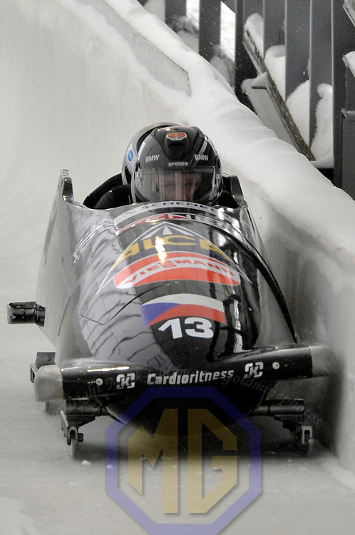 16 December 2007:  The Czech Republic 1 sled driven by Ivo Danilevic with Jan Kobian, Jan Stoklaska and brakeman Roman Gomola compete at the FIBT World Cup 4-Man bobsled competition on December 16, 2007 at the Olympic Sports Complex in Lake Placid, NY.  The Russia 2 sled driven by Alexandr Zubkov won the race with a time of 1:48.79.