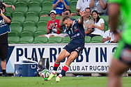 MELBOURNE, VIC - MARCH 01: Quade Cooper (10) of the Melbourne Rebels goes for a kick at The Super Rugby match between Melbourne Rebels and Highlanders on March 01, 2019 at AAMI Park, VIC. (Photo by Speed Media/Icon Sportswire)
