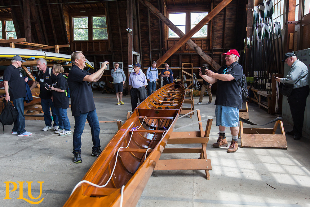 "50th anniversary of the row down crew, Wednesday, June 21, 2017. The crew members rowed and 8-man boat from Seattle to Tacoma after the University of Washington asked for the return of famous ""Husky Clipper"". The rowers had no other way of bringing the replacement boat to Tacoma and decided to row it down in a snowy December Day. (Photo: John Froschauer/PLU)"