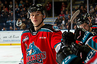 KELOWNA, BC - NOVEMBER 1: Kaedan Korczak #6 of the Kelowna Rockets first bumps the bench after a goal against the Prince George Cougars at Prospera Place on November 1, 2019 in Kelowna, Canada. (Photo by Marissa Baecker/Shoot the Breeze)