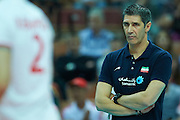 Iran's trainer coach Slobodan Kovac looks to the ball while volleyball match between Germany and Iran during the 2014 FIVB Volleyball World Championships at Spodek Hall in Katowice on September 17, 2014.<br />