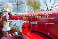 April 28, 2013 - Floral Park, New York, U.S. -  The New Hyde Park Fire Department fire engine, seen closeup, is at the Antique Auto Show, where New York Antique Auto Club members exhibited their cars on the farmhouse grounds of Queens County Farm Museum.