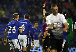Brian Wilson of Oldham Athletic is shown a straight red card by the match referee - Mandatory by-line: Joe Dent/JMP - 26/09/2017 - FOOTBALL - Sportsdirect.com Park - Oldham, England - Oldham Athletic v Peterborough United - Sky Bet League One