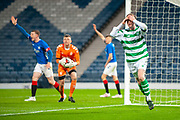 Cameron Harper (#9) of Celtic FC holds his head in his hands after seeing his goal chopped off during the Scottish FA Youth Cup Final match between Celtic and Rangers at Hampden Park, Glasgow, United Kingdom on 25 April 2019.