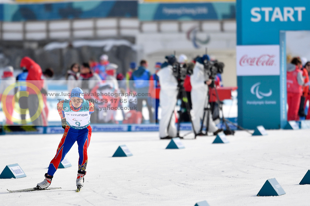 BATMUNKH Ganbold MGL LW6 competing in the ParaSkiDeFond, Para Nordic Skiing, 20km at  the PyeongChang2018 Winter Paralympic Games, South Korea.