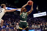 Jalen Pickett (22) of Siena looks to shoot over Leighton Schrand (10) of Xavier during an NCAA college basketball game, Friday, Nov. 8, 2019, at the Cintas Center in Cincinnati, OH. Xavier defeated Siena 81-63. (Jason Whitman/Image of Sport)