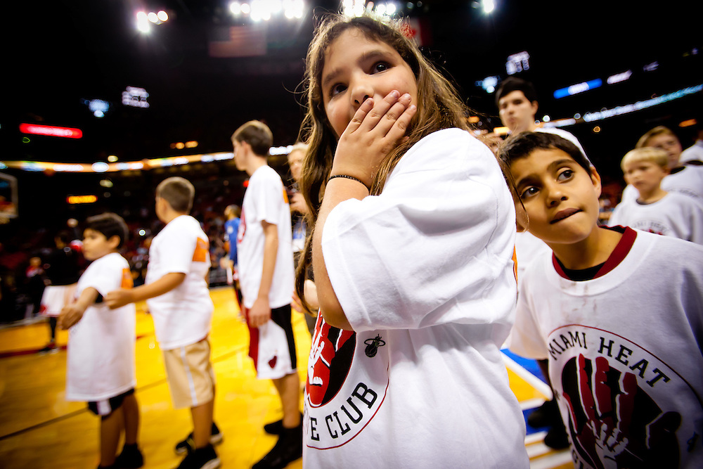 MIAMI, FL -- January 29, 2012 -- Children wait to greet players during the Miami Heat's 97-93 win over the Chicago Bulls at American Airlines Arena in Miami, Fla., on Sunday, January 29, 2012.  (Chip Litherland for ESPN the Magazine)