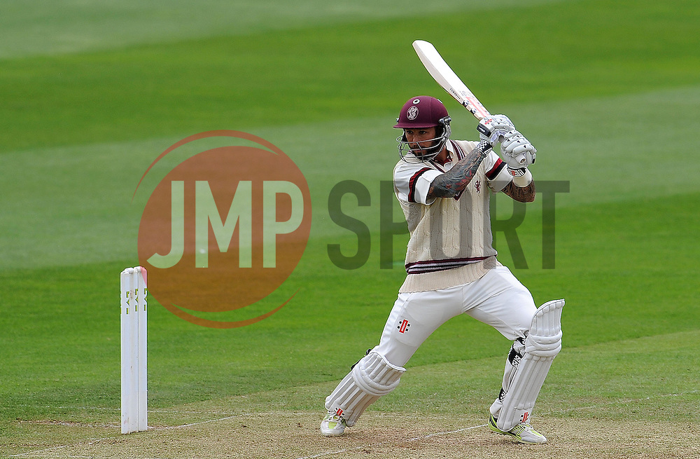 Somerset's Peter Trego cuts the ball. Photo mandatory by-line: Harry Trump/JMP - Mobile: 07966 386802 - 09/05/15 - SPORT - CRICKET - Somerset v New Zealand - Day 2- The County Ground, Taunton, England.