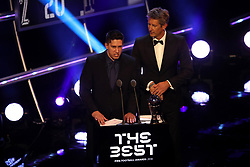 Edwin van der Sar (right) and Chapecoense crash survivor Jackson Follmann present the Best FIFA Goalkeeper Award during the Best FIFA Football Awards 2018 at the Royal Festival Hall, London.<br />Picture date: Monday September 24, 2018. See PA story SOCCER Awards. Photo credit should read: Tim Goode/PA Wire