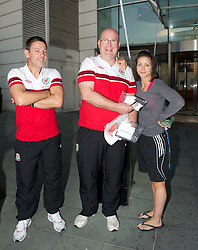 CARDIFF, WALES - Tuesday, September 4, 2012: Wales' masseur David Rowe, Medical Officer Doctor Mark Ridgewell and Sigvaris' Beth Fisher at the St. David's Hotel ahead of the Brazil 2014 FIFA World Cup Qualifying Group A match against Belgium. (Pic by David Rawcliffe/Propaganda)